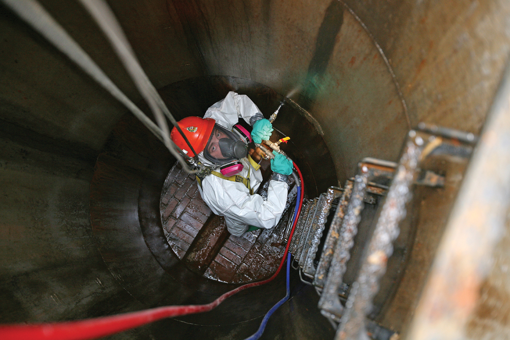 Photos of proper confined space entry work dig different